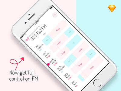 Radio FM-Skip the Ads, listen to songs only radhika dutt iphone clean interfaces sketchapp mobile radio ads concept design ui design ui app fm radio
