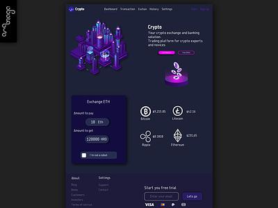 Home Page Crypto Site vector graphicdesign icon web illustration ux uidesign branding designart design