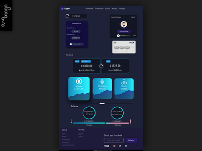 Crypto Exchange Page. flat minimal app ui uidesign designart branding web graphicdesign design