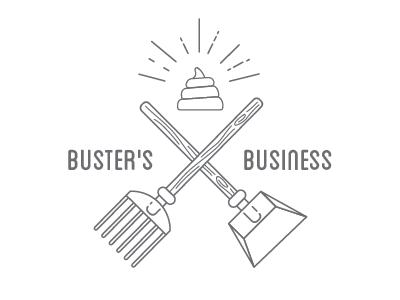 Buster's Business Logo logo identity poop icon vector illustration holy shit pooper scooper rake shovel