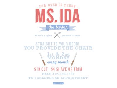Ms. Ida The Barber Flyer barber scissors razor comb flyer vector illustration