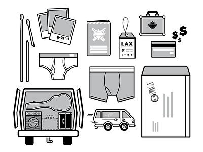 On-Tour Illustrations illustration icon polaroid drumstick credit card underwear envelope van tour guitar amp luggage tag