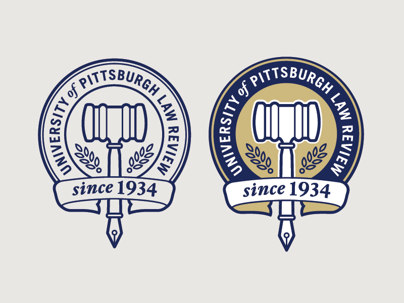 Pitt Law Review Logo traditional banner lockup pittsburgh university illustration seal pen gavel publication lawyer logo