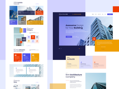 Modern Architecture & Interior Design Agency Website landingpage template website colorful modern creative agency website agency landing page company profile construction website construction interior interior design architecture website architecture architect landing page ui landing page landing page design 2019 trends