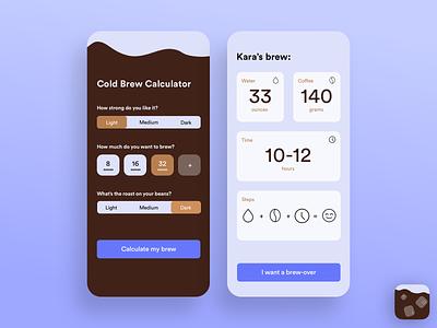 Cold Brew Calculator ios dailyui005 dailyui004 dailyui mobile mobile app selection ui buttons calculator coffee icon