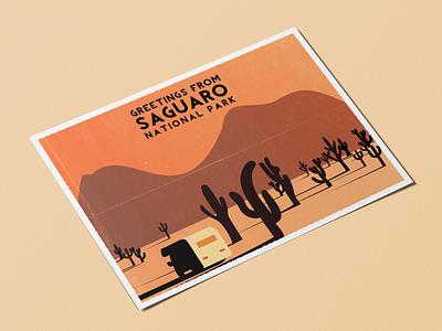 Thinking about Arizona saguaro national park adventure sunset rv cactus vector design illustration