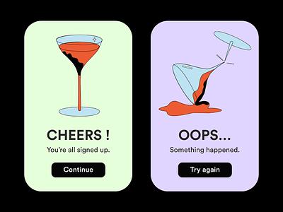 Success States dailyui11 drink martini cosmo design illustration dailyui ui success dailyui10 flash message success states error