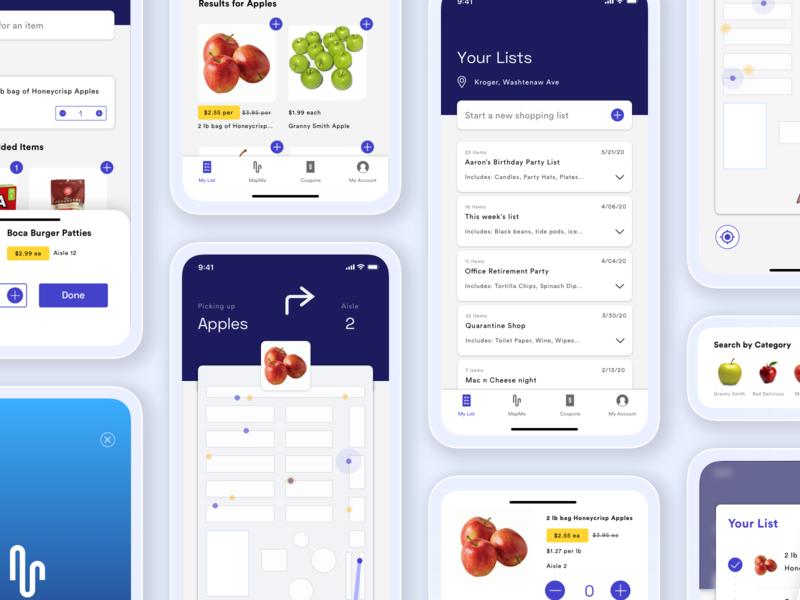 Map Me mockup ios apples grocery shopping list mobile ui ux branding logo design