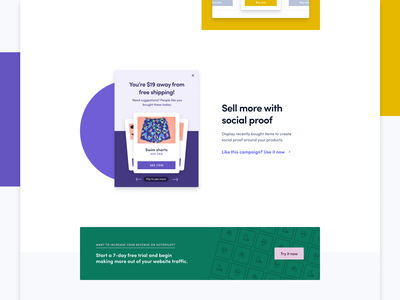 Product recommendation part 2 campaign popup mockup website web ux ui minimalist minimal product figma design landing page colorful branding