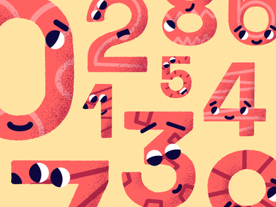 Woords and numbers gamification cartoon digital red language art quirky playful procreate number branding ui design illustration