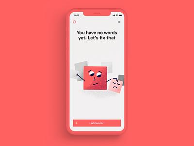 Semi empty states emoji ux ui figma red cartoon character empty app mockup branding language illustration art illustration empty state