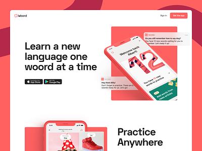 Woord landing page webflow translate figma design illustration web mockup app product minimal branding ui website
