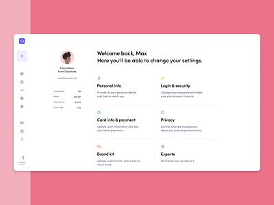 Account overview product sleeknote figma branding web minimal illustration design settings account ux ui profile dashboard