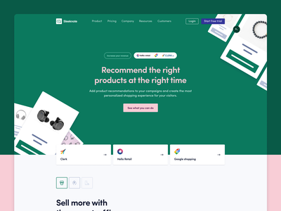 Product recommendations with Sleeknote landing page website figma colorful minimalist design branding ui ux web minimal product design product