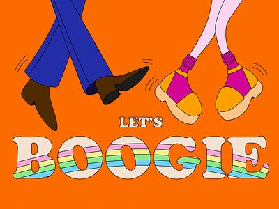 Boogie Time orange cooper black dance rainbow groovy music dancing boogie 1960s 60s adobe illustrator 70sdesign flat hello dribble 1970s 70s design vector illustration