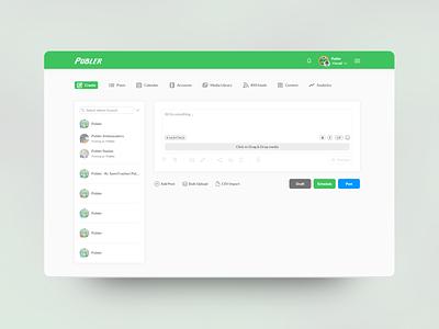 Publer - Social Media Management App website cute adobe dashboard design socialmedia simpe flat uiux ui designer ui design ux design app concept minimal ui ux design app