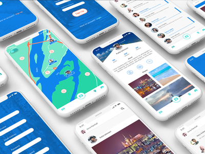 Map Page & Profile Page - Photo Sharing App adobe illustrator adobexd adobe app concept app ux ux design social media travel ui