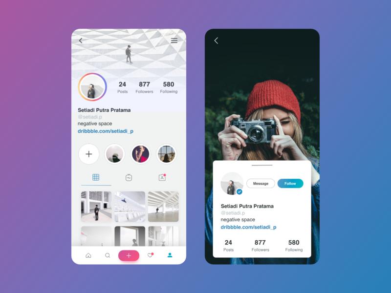 Instagram Profile minimal typography illustration ux branding app design