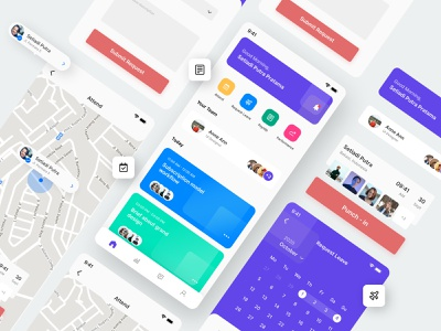 HuRez - Human Resource Information System App typography mobile apps app design app illustration flat minimalist clean userinterface uxdesign uidesign ui uxui ux design graphicdesign
