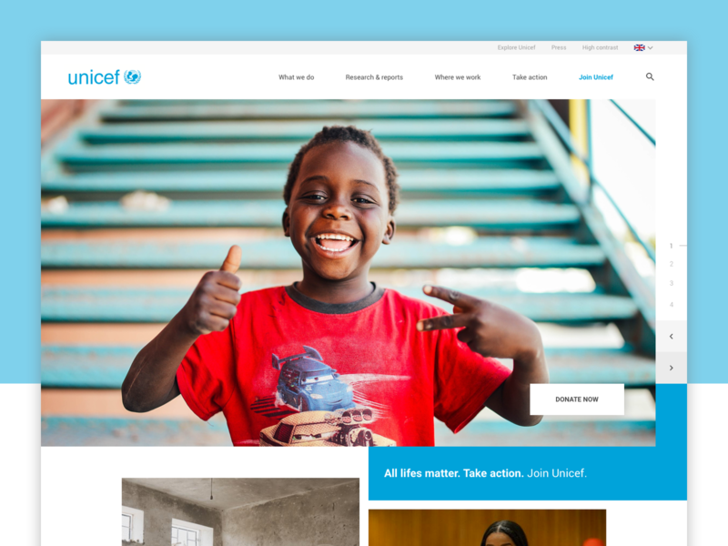 Unicef concept redesign slider redesign concept flat charity unicef sketch web web design user experience user interface interface ux ui webdesign website design