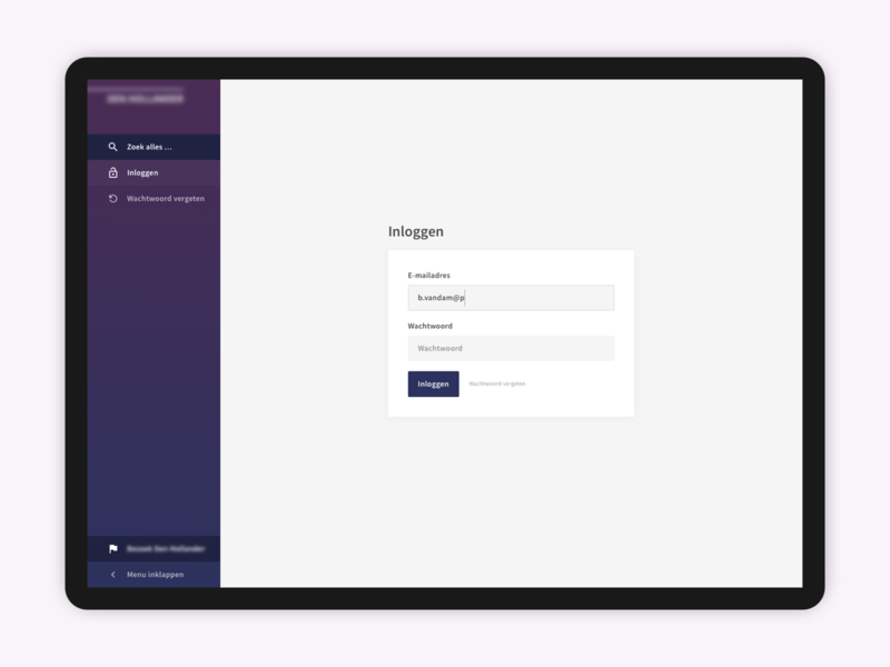 Admin login screen by Marco ten Donkelaar for Programic on