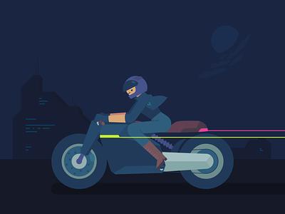 Rider 1 motorbike urban nightmode rider design minimal vector ux ui illustration graphic flat