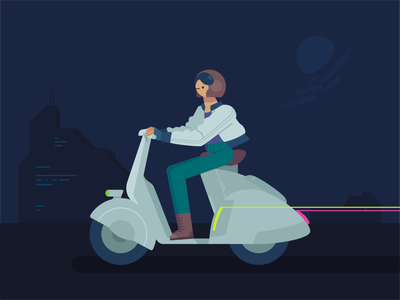 Rider 2 motorbike urban rider nightmode design minimal vector ux ui illustration graphic flat