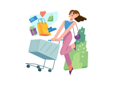 Shopping ecommerce love colorful discount shopping bag shopping cart girl commerce shopping stylish design vector ui illustration graphic flat