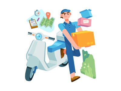 Delivery Service bike delivery service colorful scooter map box guy boy delivery stylish design minimal vector ui illustration graphic flat