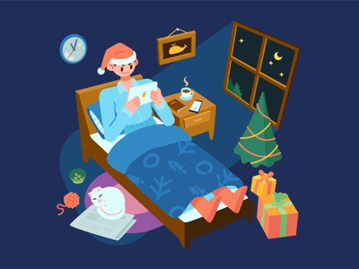 December sleep cat window box gift reading coffee lockdown room christmas tree blue dark red christmas nightmode stylish vector illustration flat december