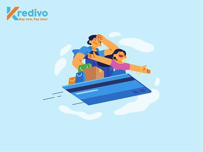 Kredivo Illustration 1 finance app card credit finance kredivo design app ux ui graphic vector illustration flat