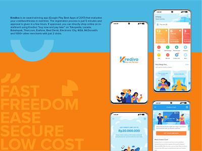 Kredivo Illustration 2 creditcard credit kredivo finance mockup finance app design app ux ui graphic vector illustration flat