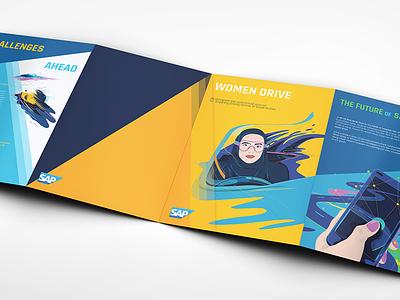 SAP Women Drive brochure exterior view women drive sap commercial illustration graphic design brochure design illustration