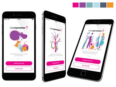 Fashion shopping - screen illustrations onboarding fashion illustration onboarding screen mobile app digital illustration vector illustration board app ui