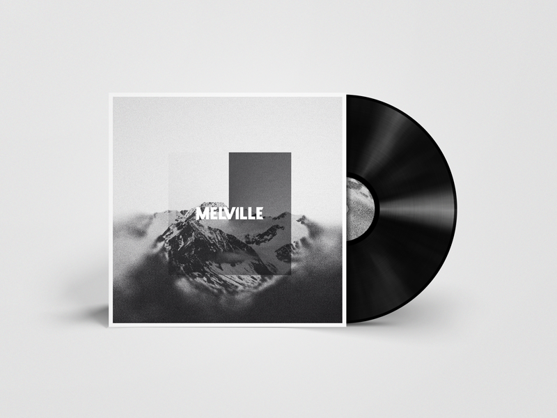 Melville black and white mountain album cover cd music branding band melville record