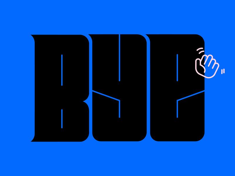 buh bye. cute wave bold typography type logo icon hand bye