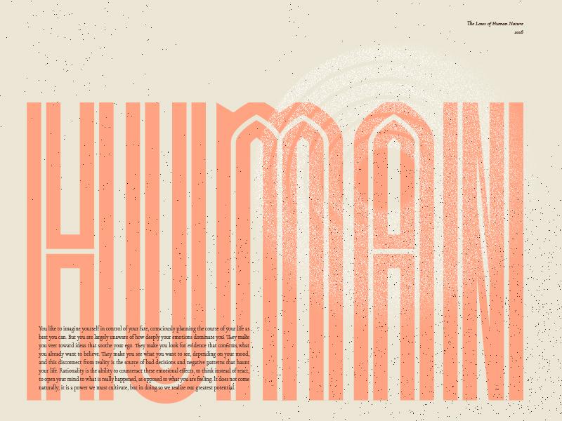 Human type art condensed circle laws of nature quote human orange texture type design type