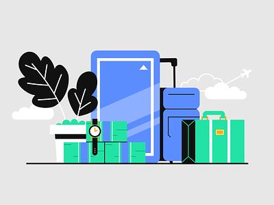 Lyft x Travel (Business) money plants plant fun blue illustration watch business travel lyft