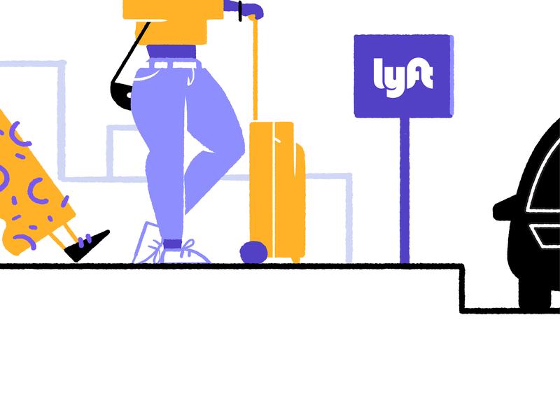 Get In Line san francisco line car yellow purple girl illustration lyft
