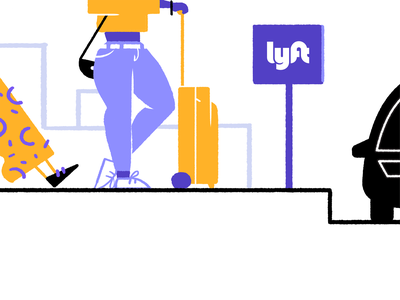 Get In Line san francisco line car yellow purple girl illustration lyft