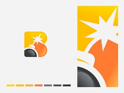 Boom sparkles blue illustration logo identity icon symbol bombs entertainment blust bomb