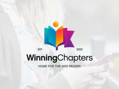 Book lover blog logo modern app icon branding logo identity initials people flag book