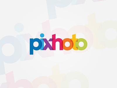 pixhoto logoinspire graphaety color pixel wordmark lettermark illustration logotype minimalist symbol initials branding monogram logo