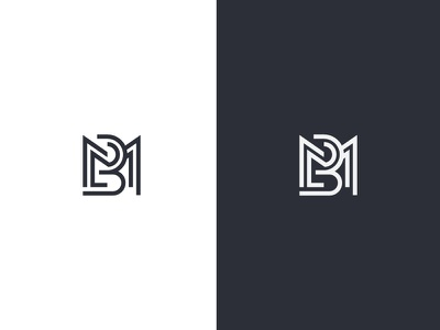 BM minimalist abstract initial logo letter letterform branding initials icon monogram mb in memory of