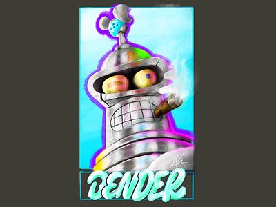 #sixfanarts - Bender Bending Rodriguez cartoon procreateapp procreate ipadproart typography handlettering illustrator illustration popculture futurama bender