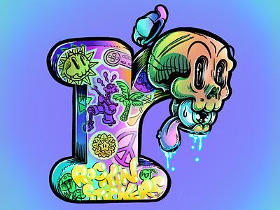 Rockin' r ipad pro art procreate skull handlettering typography illustrator illustration
