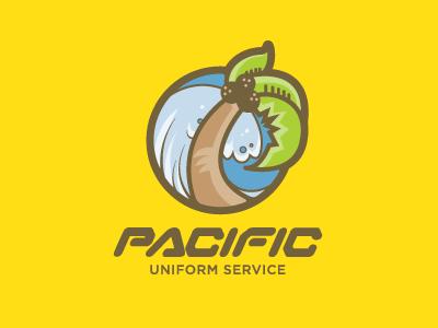 Pacific Uniform Service Logo logo vector illustrator illustration beach wave palm tree custom type typography handlettering