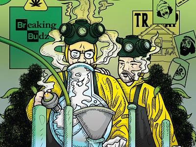 Breaking Budz – Walter & Jesse jesse pinkman walter white dabs bong marijuana stoners breaking bad vector illustration illustrator