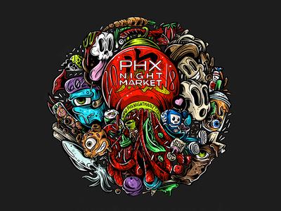PHX Night Market – Shirt Design asian culture night market food toons photoshop illustration illustrator