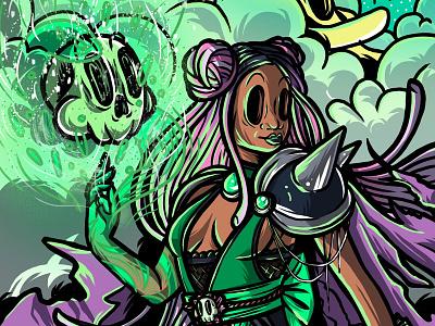 Black Magick braids black girl necromancer procreate app ipad art illustration illustrator